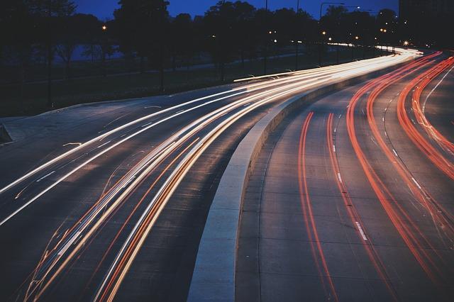 Free street night city urban lights road traffic