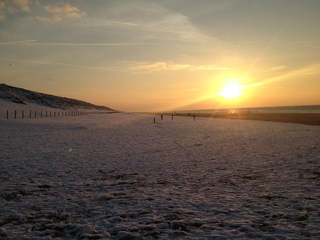 Free sunset dutch beach the netherlands snow