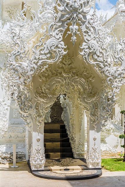 Free white temple chiang rai thailand asia