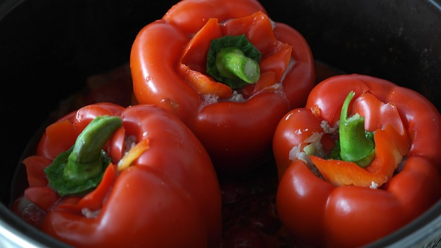 Free paprika red fill minced meat stuffed peppers onion