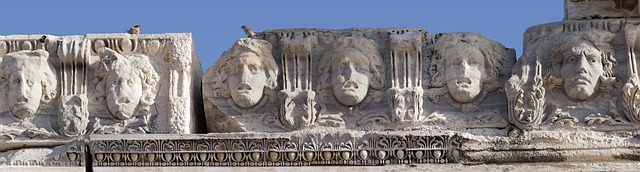 Free frieze jellyfishes heads antiquity temple ruin