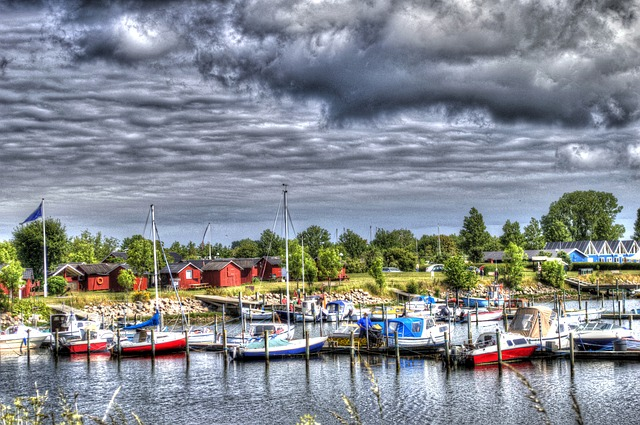 Free port ships boot water travel idyll hdr holidays