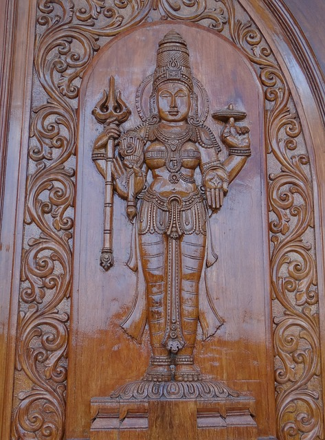 Free carving wooden goddess lakshmi door panel india