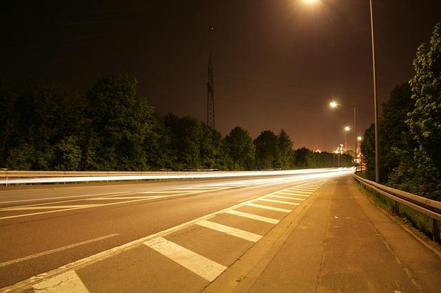 Free street light long exposure asphalt tar