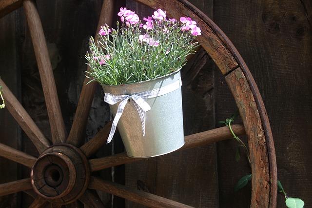 Free old wagon wheel wooden wheel flower