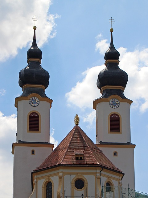 Free architectural style church bavaria onion dome