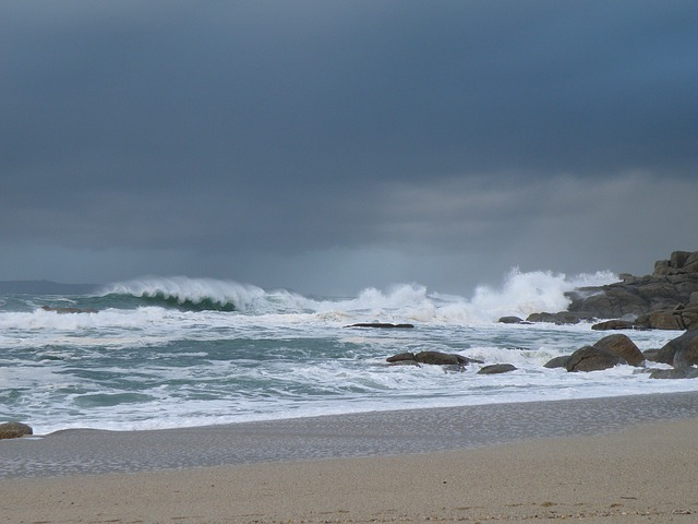 Free sea costa cloudy storm beach waves shore