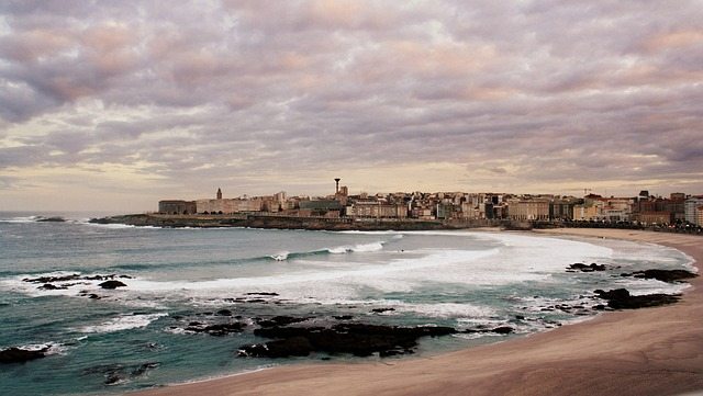 Free coruña city galicia riazor dawn sea temporary