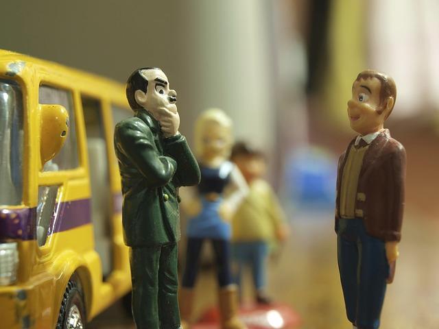 Free figures toy bus talking men people waiting