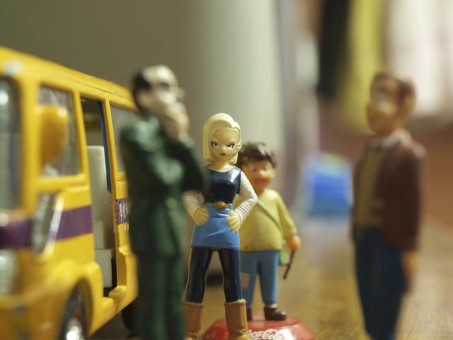 Free toy miniature waiting bus stop public transport
