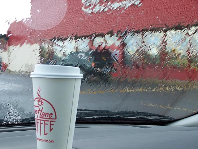 Free car trip coffee rain cup morning weather break
