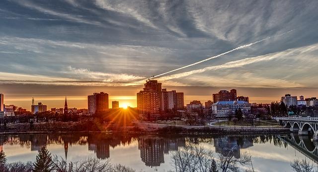 Free               sunset saskatoon landscape reflection saskatchewan