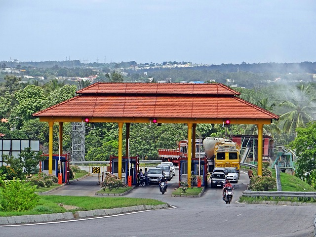 Free highway interchange slip road tax check toll gate