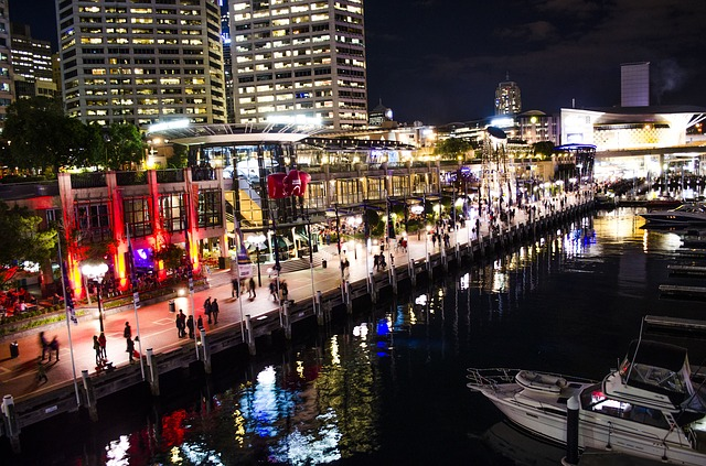Free darling harbour sydney night lights reflection