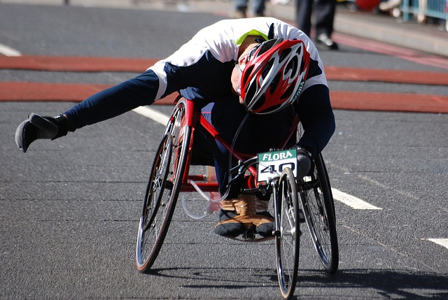 Free wheelchair disabled man racer london marathon