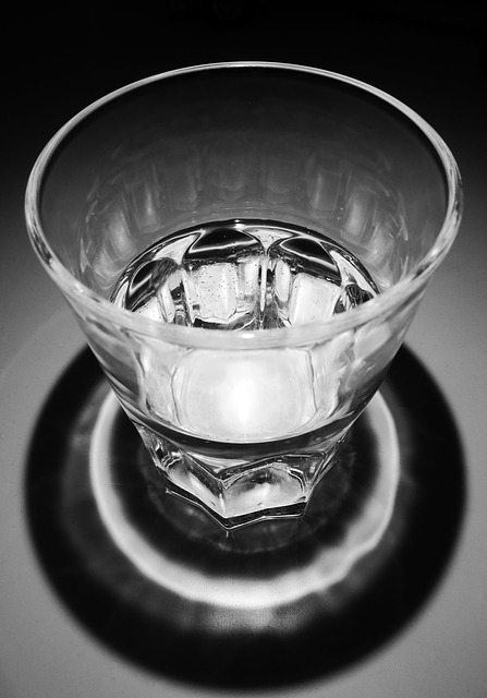 Free water glass transparent black and white contrast