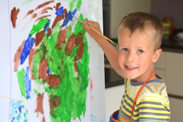 Free boy child people painting brush smile drawing