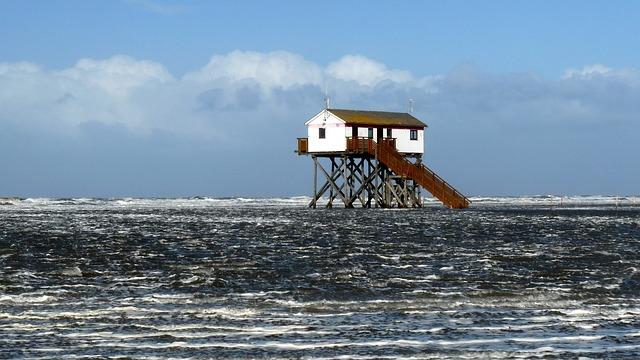 Free pile construction saint peter ording north sea wave