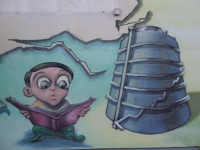 Free graffiti mural boy read book