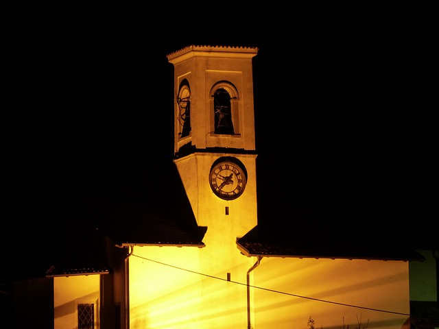 Free church illuminated night pregasina garda steeple