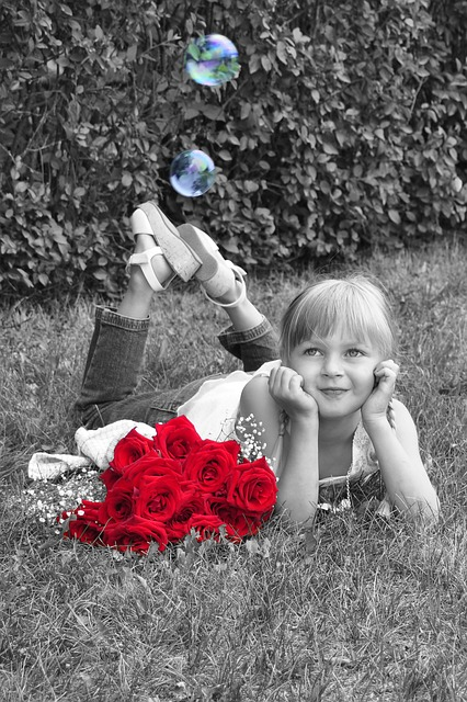 Free                girl little girl dreaming roses red
