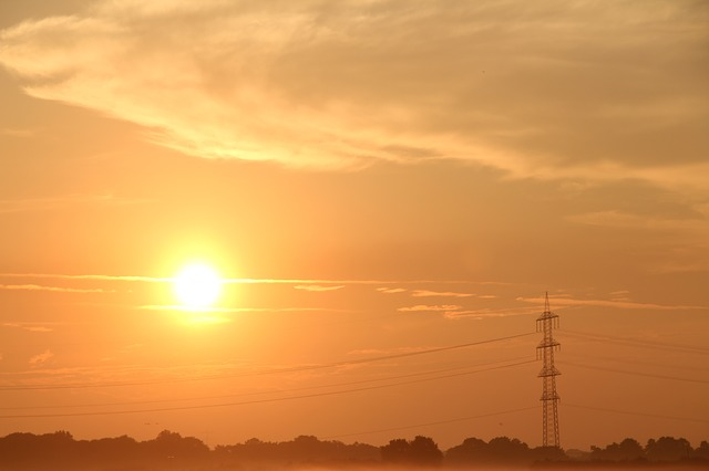 Free energy current power line sunset afterglow