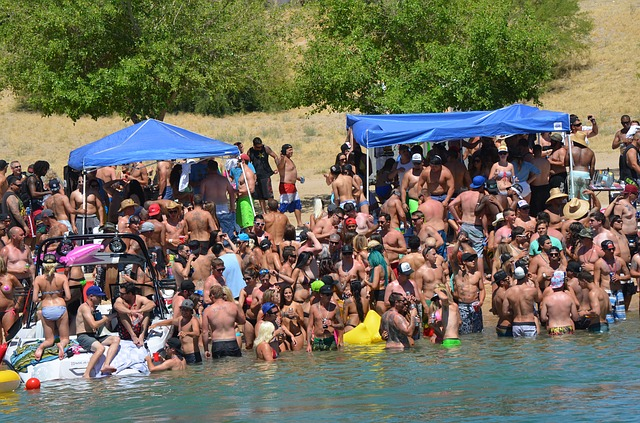 Free bathers crowd memorial day party sun hot summer