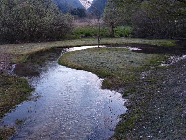 Free river water meander river loop of course biotope