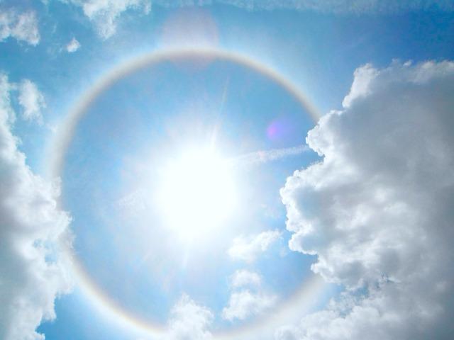 Free halo sun sky light sunlight rays clouds solar