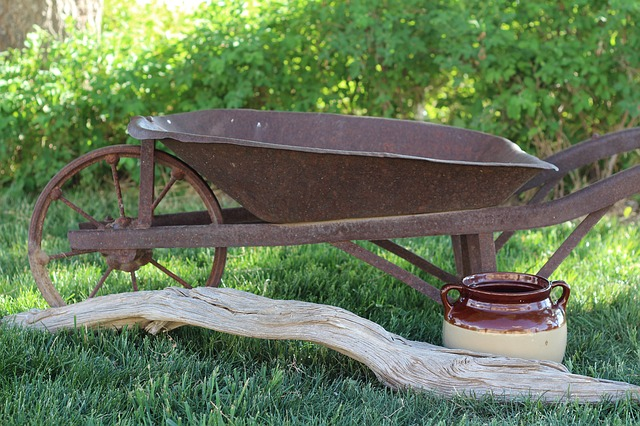Free wheelbarrow yard vintage green rustic grass farm