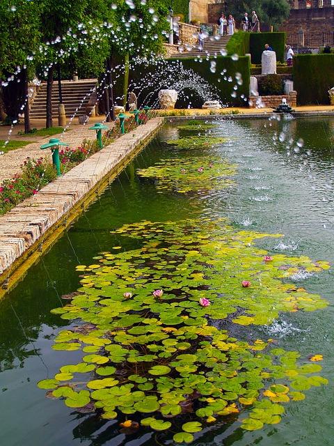 Free alhambra pond water jet cordoba spain gardens
