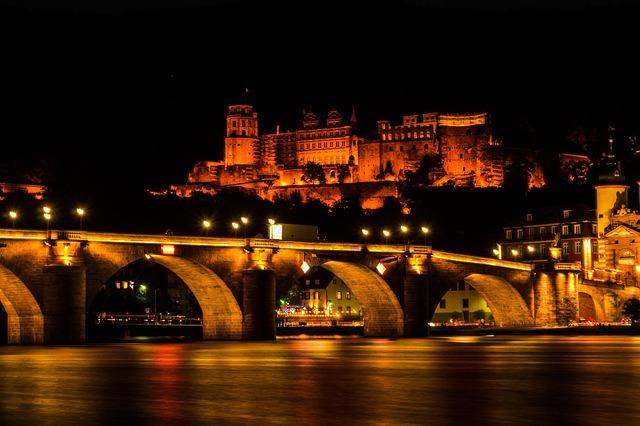 Free closed heidelberg lighting building night fortress