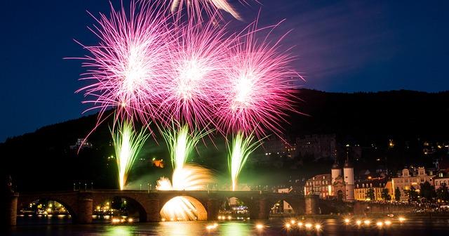 Free fireworks heidelberg neckar old bridge bridge