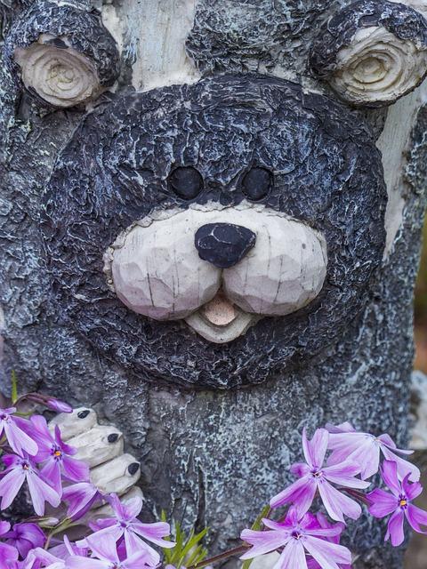Free bear face garden decoration flowers summer