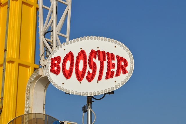 Free booster font amusement park colorful lights
