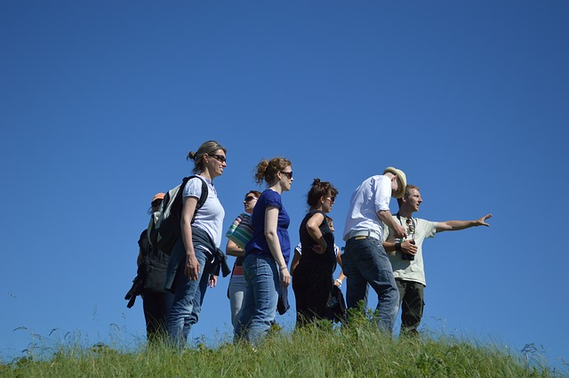 Free group excursion follow watch tour summer walk