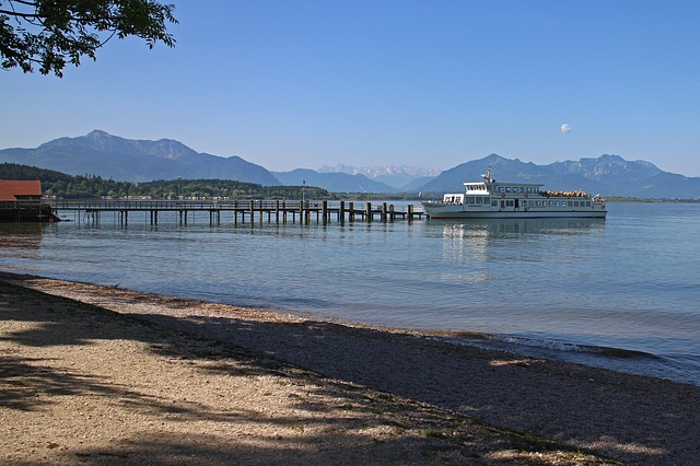 Free landscape chiemsee ship pier jetty passenger ship