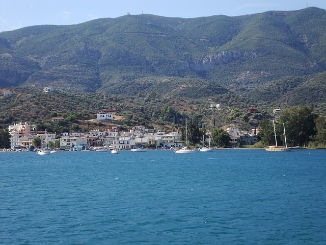 Free greek island sea water blue boats