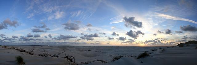 Free sunset panorama amrum beach evening wadden sea