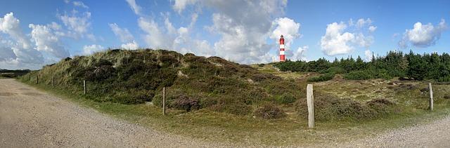 Free lighthouse panorama amrum island dunes summer