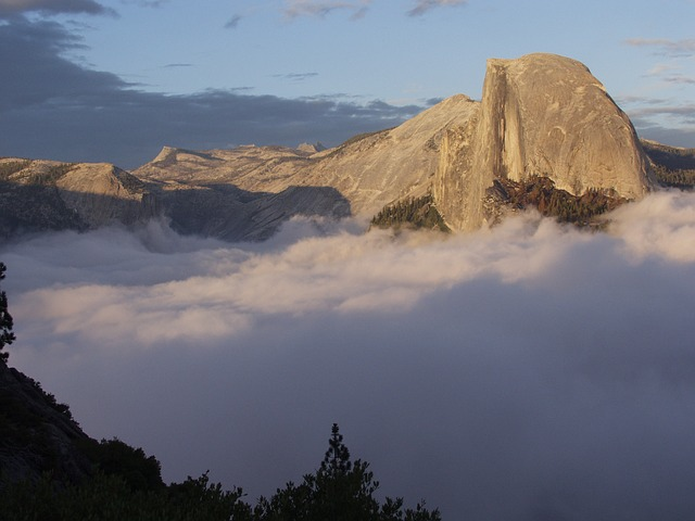 Free half dome yosemite mountain peak fog granite