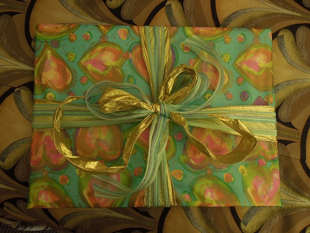 Free present gift ribbon yellow box gold decorative