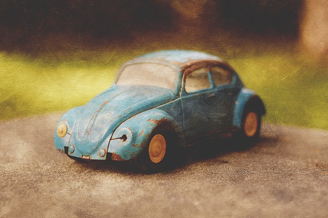 Free vintage toy car bug beetle blue texture art