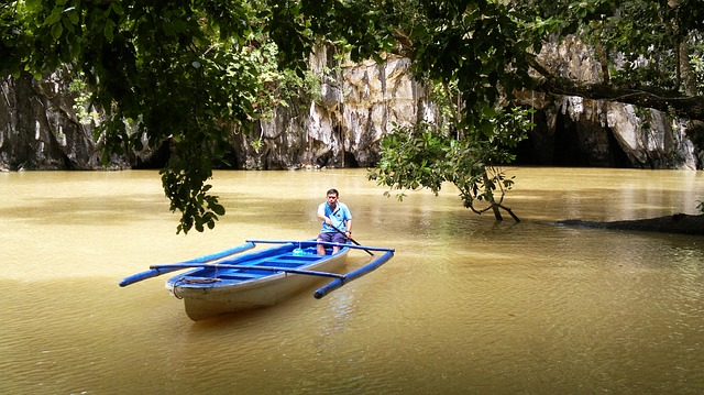 Free boat man cave lagoon fisherman burma myanmar