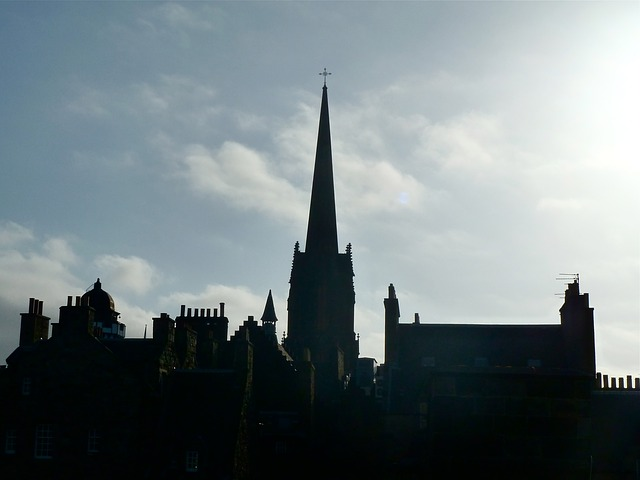 Free skyline church dusk buildings tall silhouette