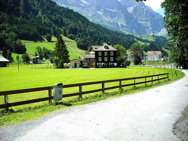 Free road through village house in mountains swiss