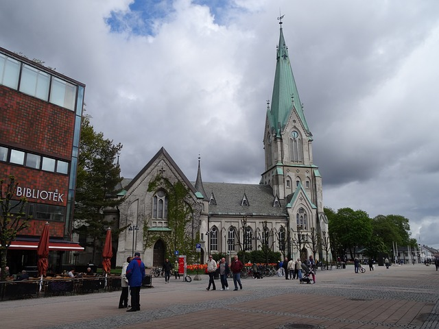 Free church clouds building cross cathedral norway