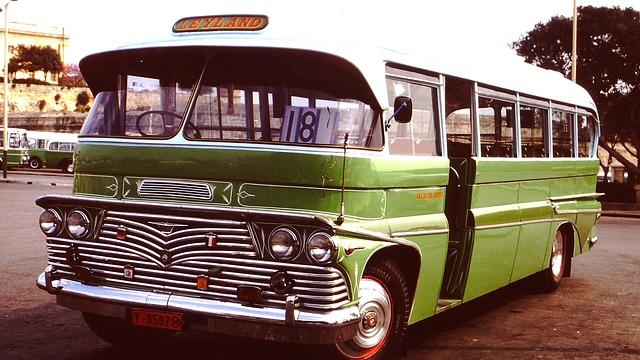 Free bus oldtimer vehicle chrome green retro vintage