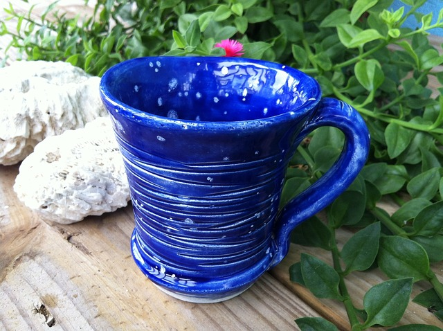 Free mug coffee tea coral blue carved pottery