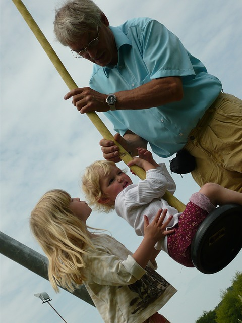 Free girl father family man children cable car rock